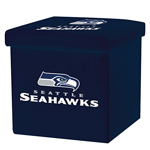 Franklin Sports NFL Seattle Seahawks Storage Ottoman with Detachable Lid 14 x 14 x 14 - Inch