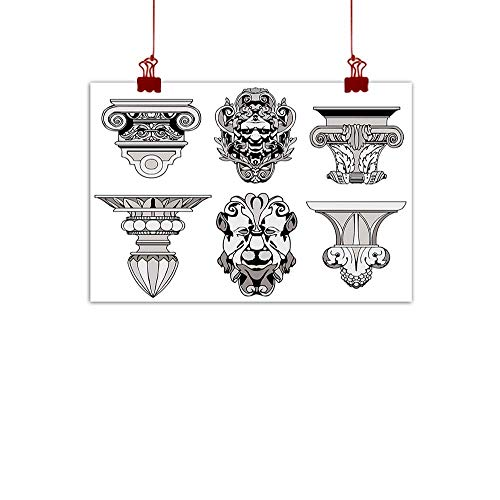 ration Poster Wilderness Toga Party,Roman Architectural Decorations Sphinx Lion and Column Antique Design,Light Grey Black 48