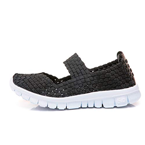 Women Woven Sport Water Shoes - POHOK Women'S Woven Breathable Elastic Band A Pedal Sneakers Casual Shoes(40,Black) (Prada Woven Band)