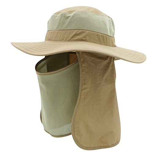 Home Prefer UPF50+ Men's Sun Hat with Neck Flap Mesh Bucket Hat Outdoor Fishing Hat Khaki (Track Mesh Cap)