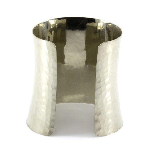 Mgd, 75mm de large droites martelé Finition polie Brassard/bracelet, Argenté Base, bracelet réglable, taille unique, bijoux tendance pour femme, Je-0098b