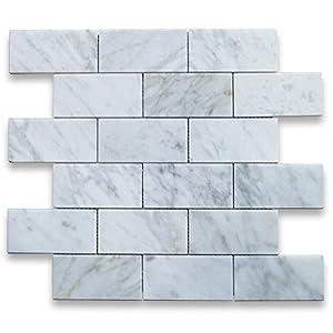 Carrara White Italian Carrera Marble Subway Brick Mosaic