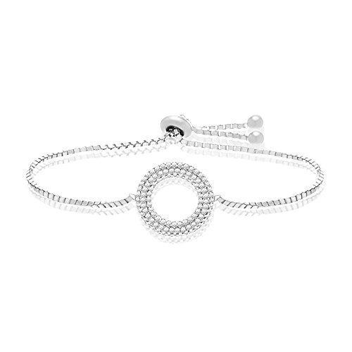 [Silver or Gold Sterling Silver Cubic Zirconia Pave Open Circle Slider Bracelet (Silver)] (Boys Snowflake Costume Uk)
