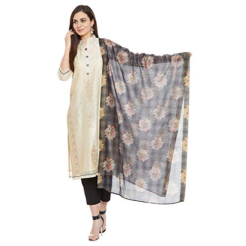 PinkShink Women's Readymade Beige and Black Chanderi Silk Indian/Pakistani Salwar Kameez Dupatta