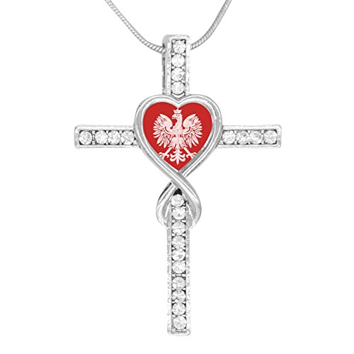 BlingDi Fashion Polish Flag Eagle Crowns Design Heart Shaped Cross Necklace