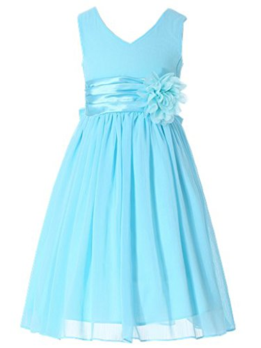 Bow Dream Flower Girl Dress Junior Bridesmaids V-Neckline Chiffon Light Blue 16