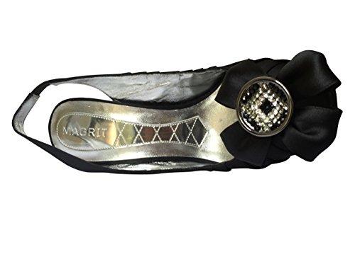 Sandali Peep Diamante Toe Magrit Nero Indietro Fionda x16w8IUqZ