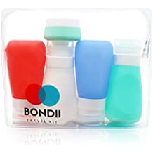 Bondii Silicone Travel Bottles Set – TSA Approved Clear Bag for Liquids and Toiletries – Set of Four 3 oz. (89 ml)