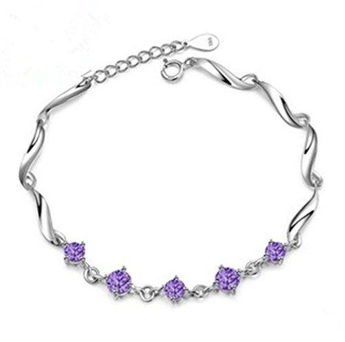 Silver Sterling Bracelet Crystal (925 Sterling Silver Charm Bracelets with Purple Crystal for Women)