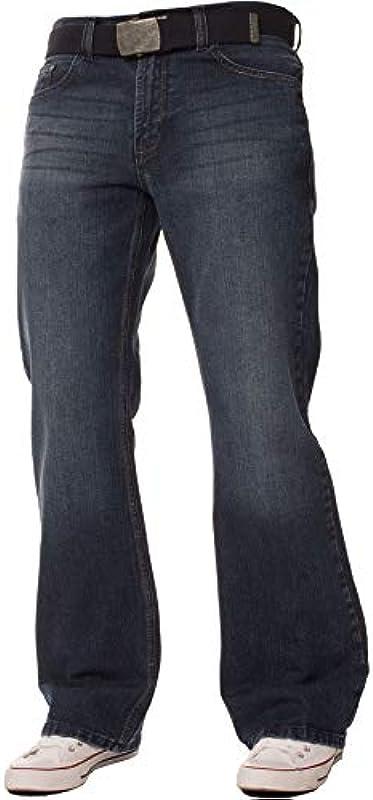 FBM Męskie designerskie dżinsy Bootcut Fit Denim z paskiem, spodnie we wszystkich taliach i rozmiarach nogawek: Odzież