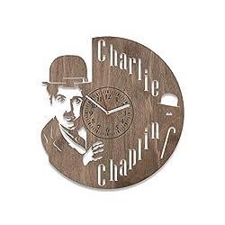 NadezhdaShop for Men and Woman Charlie Chaplin Wooden Clock Charlie Chaplin Wall Clock Large Office Decorations Wooden Wall Clock Charlie Chaplin Film Actor Home Decor Wall Art (Brown)