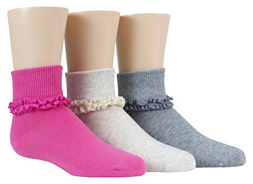 Stride Rite Little 3 Pack Girls Turncuff Socks, Donna - Grey/Pink/Oatmeal Lace 7-8.5 / Shoe: 10-13 (Little ()