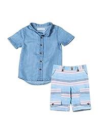 Kinderkind Boys Chambray Shirt and Cabana Cargo Short Set