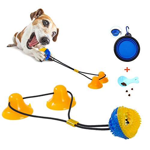 shuny Double Suction Cup Dog Chew Toy Tug of War Rope Toys