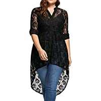 Clearance! Paymenow Women Sexy Long Sleeve Tops Blouse Lace Splice Perspective Button Down High Low Hem Shirts Plus Size