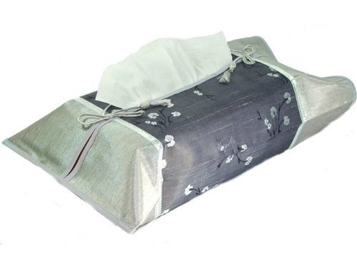 PAPAYA SHOP Silver Gray Silk Kleenex Tissue Box Cover Holder with Gray Oriental Floral
