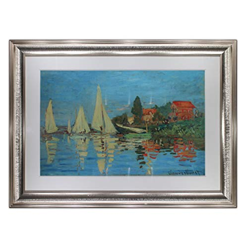 Regatta at Argenteuil by Claude Monet,Oil Painting Print on Museum Quality Paper, with Antique Silver Frame, Size 33