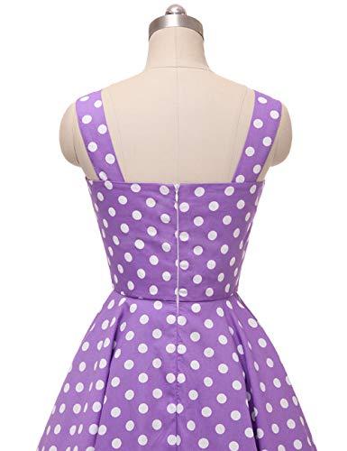 Vestido de cuadros VKStar® Rockabilly, estilo Vintage sin mangas, con cerezas, vestido de noche Lilas