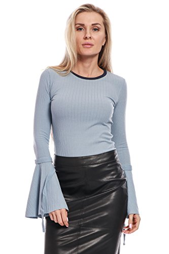 Avoir Aime Women's Ribbed Round Neck Knit Top with Long Bell Sleeves - Blue, S