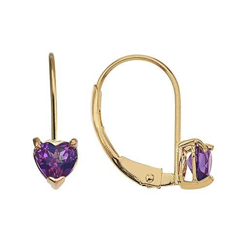 - 14k Gold Genuine .50ct TW Amethyst Heart Lever Back Girls Earrings