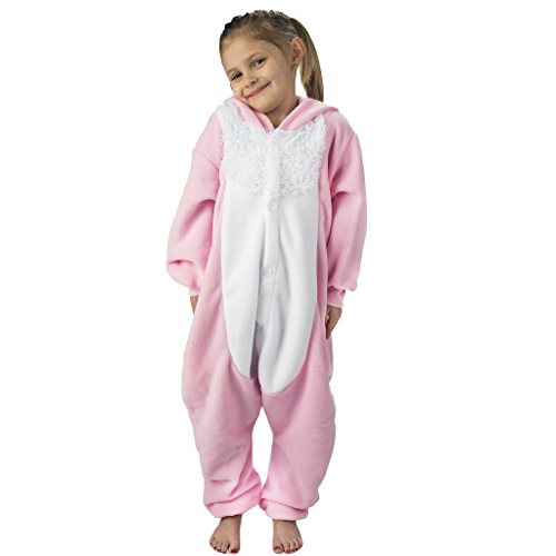 Emolly Fashion Kids Animal Bunny Pajama Onesie - Soft and Comfortable with Pockets (6, Bunny) -