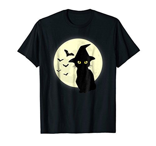 Black Cat And Full Moon Witch Hat Bats T-Shirt]()
