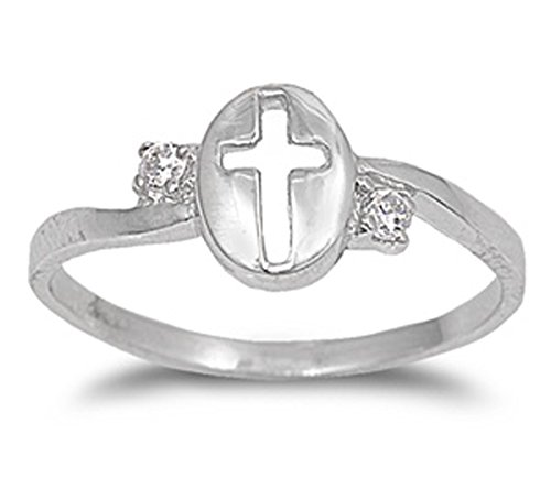 Sterling Silver Women's Flawless Colorless Cubic Zirconia Cutout Cross Ring (Sizes 4-9) (Ring Size (Large Cut Out Cross Ring)