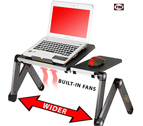 Desk York Portable Table for Computer - Adjustable Light Stand for Laptop - Widest Leg Area in The Market - Recliner Bed Lap Tray - 2 Built in Fans - Mouse Pad and USB Cord Included - Black