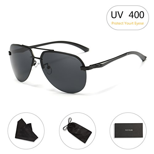 Aviator Sunglasses RAYSUN Aluminum Semi Rimless Polarized Vintage Sun Glasses for Men Women UV 400 with Sun Glasses - Beach Sunglasses Best The For