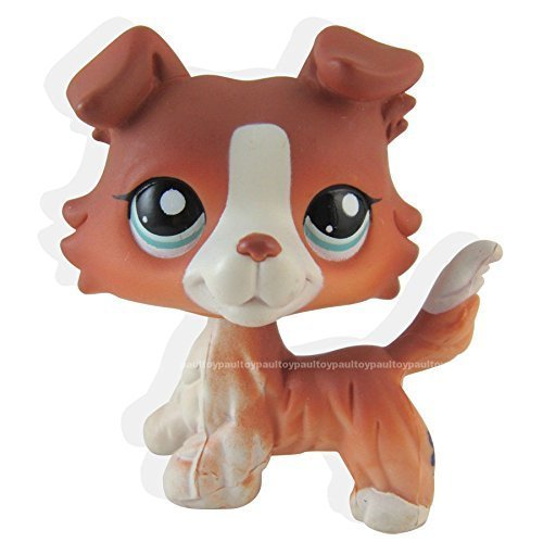 new brand #1542 Littlest Pet Shop Red Brown Collie Dog Puppy Blue Eyes Figure LPS Toy (Box Collie Gift)