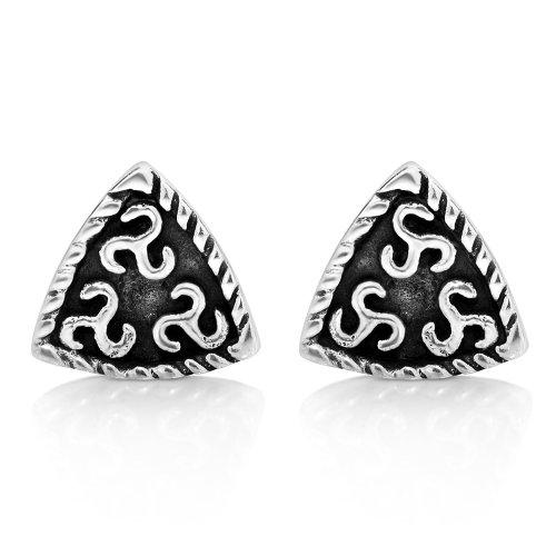 Sterling Silver Celtic Spiral Earrings (925 Oxidized Sterling Silver Triangle Triskelion Celtic Knot Symbol Braided Design Post Stud Earrings 10 mm Fashion Jewelry for Women,)