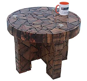 Onlineshoppee Bloque De Madera Wooden Round Foldable Coffee Table with Sofa