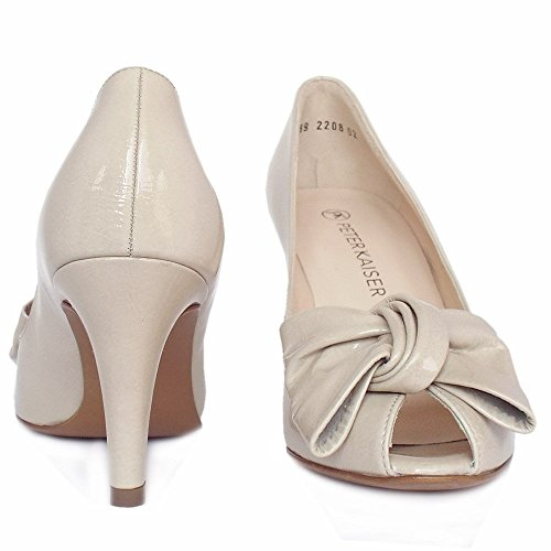 Peter Kaiser Samos Peep Toe Elegante Zapatos En Lana Crackle Patente Desnuda LANA CRACKLE
