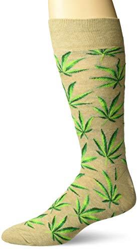 Hot Sox Men's Conversation Starter Novelty Casual Crew Socks, Cannabis (Hemph), Shoe Size: 6-12