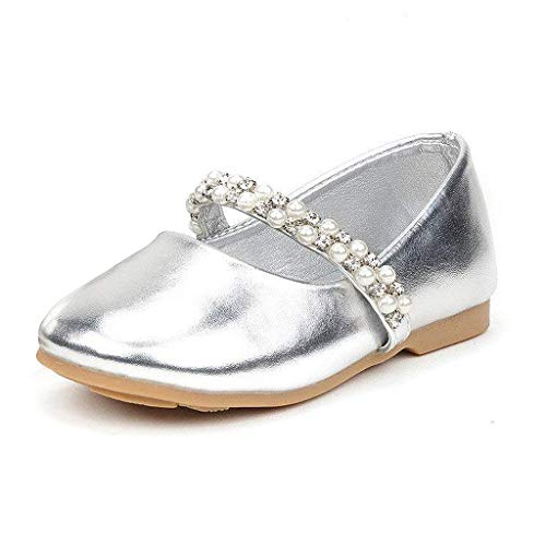 DREAM PAIRS SERENA-100-INF Mary Jane Casual Slip On Ballerina Flat Toddler New Silver Size 4 ()