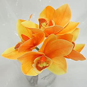 Lily Garden 3 Stems Real Touch Artificial Cymbidium Orchid Bundle Flower (Orange) 93