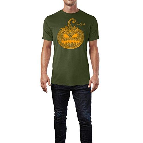 SINUS ART ® Handgemalter Kürbis mit Verzierungen Herren T-Shirts in Armee Grün Fun Shirt mit tollen Aufdruck