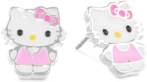 Hello Kitty Fine Silver Plated Enamel Stud Earrings