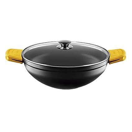 Castey Cacerola, Aluminio, Negro/Amarillo, 30 x 32 x 11.5 cm