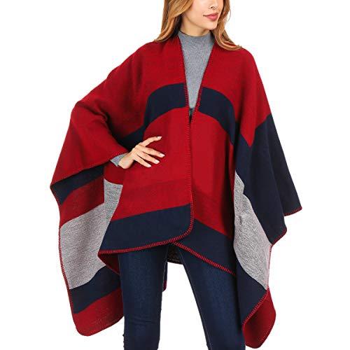 DoFiyeng Women Poncho Shawl Poncho Cape Cardigan Open Front Elegant Cape Wrap Shawl Wrap(Red black plaid)