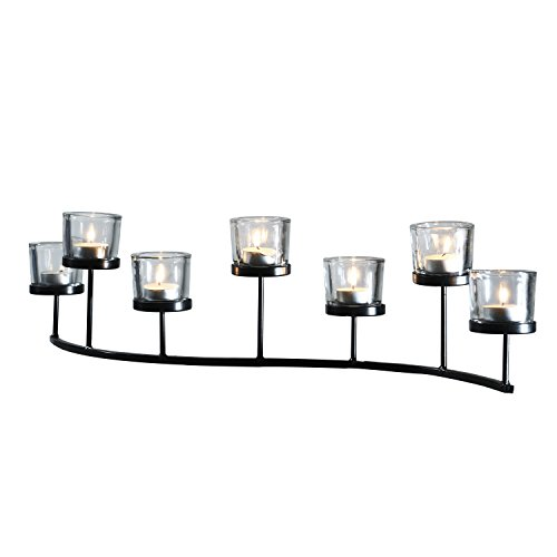 ELEGAN Vintage Style Metal Stand with 7 Glass Votive Candle Holder Sconces for Home Decoration Decor Accents (Long Glass Candle Holder)