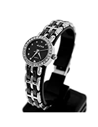 Alexis Silver Black Band Round Ceramic Water Resistant Watch