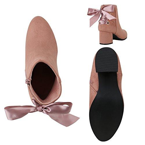 Damen Leicht Gefütterte Stiefeletten Boots Wildleder-Optik Schuhe Flandell Rosa