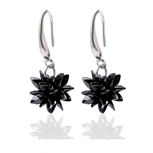 - Qise Luxury Cluster Crystal and Sterling Silver Dangle Earrings (Black Ice Flower 0.35