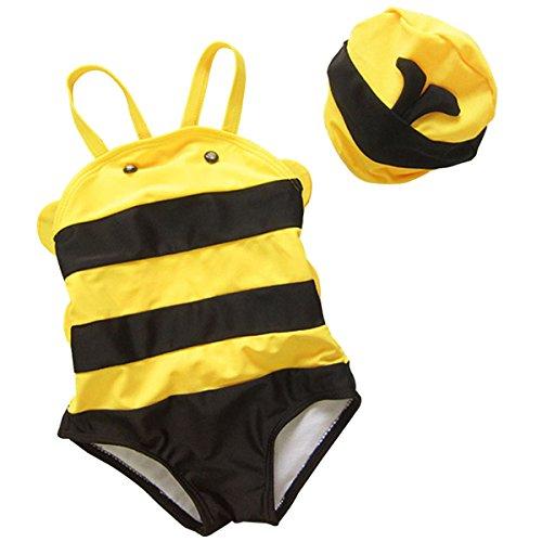 [Baby Kids Boy&Girl Cute Honey Modeling Summer Romper Swimwear With Hat 3-4 Years] (Little Honey Bee Girls Costumes)