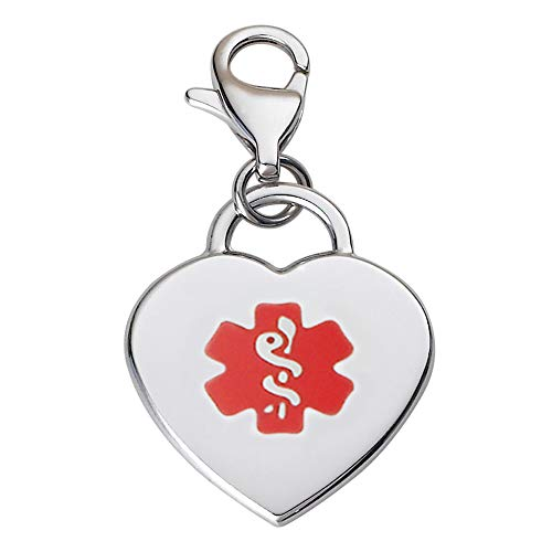 Divoti Deep Custom Laser Engraved Adorable Heart 316L Medical Alert Charm/Medical ID Charm w/Lobster Clasp-Red