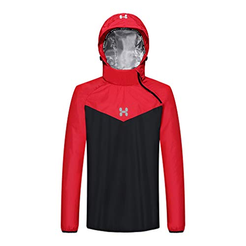 HOTSUIT Sauna Jacket for Men Weight Loss Workout Sauna Shirts, Red, M
