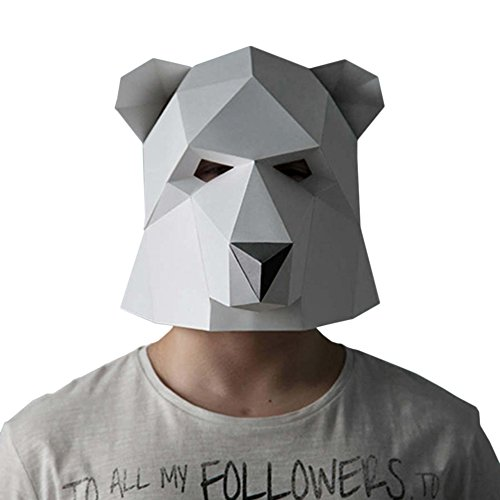 Geek-house Modern Aesthetics Low-Poly Mask DIY Paper Art Animal Series Headgear for Party Photography Decoration Polar Bear White for Child - Polar Bear Costume Diy