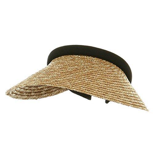MG Ladies Sewn Braid Wheat Straw Clip-On Visor (Natural)