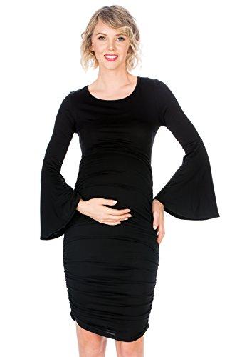 Sleeve Dress Ruched Maternity (My Bump Women's Maternity Fitted Bell Sleeve Dress W/Ruched (Black SD, MEDIUMA))